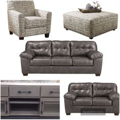 Simmons 174 Flannel Charcoal Sofa With Pillows At Big Lots
