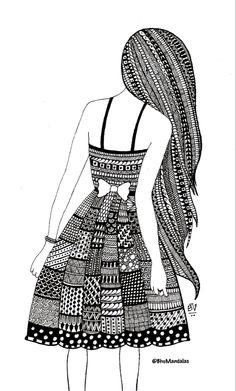 Mandala Book, Mandala Art Lesson, Mandala Artwork, Girly Drawings, Art Drawings Sketches Simple, Dress Sketches, Doodle Art Drawing, Mandala Drawing, Math Border