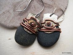 Natural stone beach rock wire wrap etched metal by JanEOjewelry
