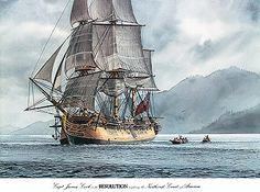 """""""H.M.S. RESOLUTION"""", 1792 -  Watercolor, in Sailing Ship Paintings"""