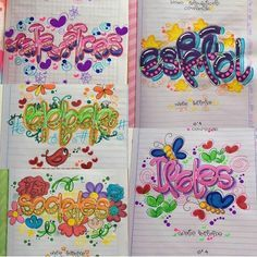 Resultado de imagen para marcar cuadernos timoteo Pretty Letters, Cute Letters, Letters And Numbers, Notebook Art, Decorate Notebook, Cute Illustration, Hand Lettering, Diy And Crafts, Graffiti