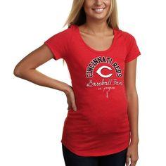 Cincinnati Reds Women's Maternity Baseball Fan Tri-Blend T-Shirt - Red - $20.99