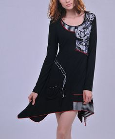 Look what I found on #zulily! Black & Gray Abstract Handkerchief Dress - Women by La-El Couture #zulilyfinds