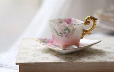 vintage miniature Japanese tea cup #japan #teacup #vintage #pink #flower #gold
