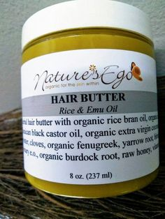 Rice & Emu Oil Hair Butter (ayurvedic, Jamaican black castor oil, cloves, organic burdock root, conditioner) – All About Hairstyles Salon Hair Treatments, Curly Hair Styles, Natural Hair Styles, Emu Oil, Jamaican Black Castor Oil, Rides Front, Hair Vitamins, Natural Haircare, Natural Skin