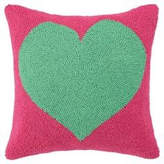 "Add a playful pop of color to your decor with this wool and cotton pillow, showcasing vibrant hand-hooked heart.  Product: PillowConstruction Material: Wool and cotton cover and polyester fillColor: Green and pinkFeatures:  Insert includedHand-hooked cover Dimensions: 18"" x 18""Cleaning and Care: Spot clean"