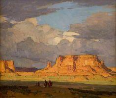 Edgar Alwin Payne, an American Western landscape painter Western Landscape, Landscape Art, Landscape Paintings, Landscapes, Weisman Art Museum, Edgar Payne, Unique Drawings, Desert Art, Southwest Art
