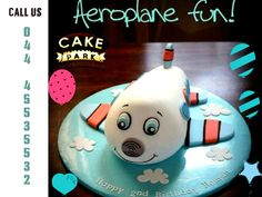 If your child is wild about airplanes, Fly High with our Fun Cake - #Aeroplane #ThemeCake from #Cake #Park.  Reach us: 044-45535532