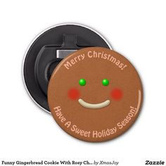 Funny Gingerbread Cookie With Rosy Cheeks Bottle Opener