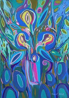 """Tableau """"Le bouquet de Valérie"""" de Vincent Dufour - Pastel sec de 60/80cm [tableau de style figuration libre et nouvelle figuration]"""