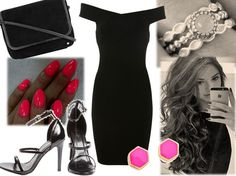 evening black and white, neon accessories, party wear