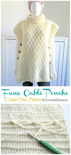 Faux Cable Poncho Crochet Free Pattern – Crochet & Knitting Faux Cable Poncho Crochet Free Pattern – Crochet & Knitting,Häkeln Related Chic and Trendy Free Crochet Patterns You'll Actually Wear and Use -. Poncho Crochet, Crochet Scarves, Crochet Clothes, Crochet Stitches, Crochet Baby, Poncho Style, Crochet Woman, Knitting Yarn, Free Knitting