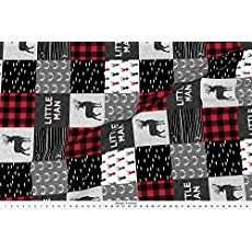 Patchwork Fabric Little Man (90) - Red And Black (Buck) Quilt Woodland by Littlearrowdesign Printed on Minky Fabric by the Yard by Spoonflower