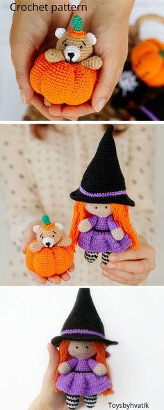 crochet pattern bear in pumpkin and witch Crochet Bear, Cute Crochet, Crochet For Kids, Crochet Doll Pattern, Crochet Patterns Amigurumi, Amigurumi Toys, Halloween Crochet, Easy Halloween, Knitted Hats Kids