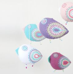 bird mobile pastel baby crib mobile by moloco on Etsy, $51.00