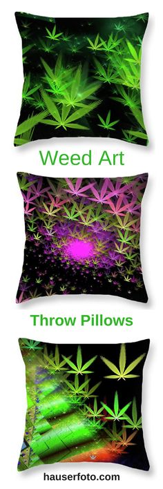 Marijuana Art Throw Pillows with green, purple and pink weed / cannabis symbols. Trippy decoration for your living room or bedroom. Click through and check them out. http://matthias-hauser.pixels.com/shop/throw+pillows/weed+art Matthias Hauser - Art for your Home Decor and Interior Design needs.