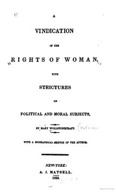 A Vindication of the Rights of Woman: With Strictures on Political and Moral ... - Mary Wollstonecraft , 1833