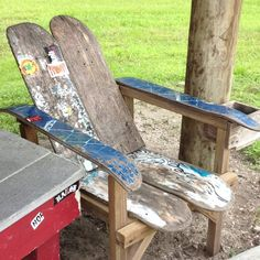 Skateboard Chair with cup holder - New Smyrna Beach Skatepark.  Broken and cracked skateboards live on.  Great for deck, garage/man cave or boy rooms.