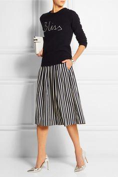 J.Crewsweater |J.Crew|Catalpa striped crepe de chine midi skirt|Gianvito Rossi pumps.