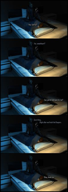 Allergies by Lordess-Alicia on deviantART This is me - ick Allergies, Garrus.....me happy