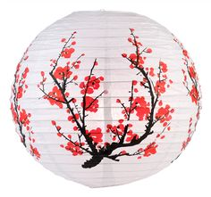 Round paper lantern with Japanese plum tree pattern printed on the lantern. Paper lantern is held open with a wire expander. Specializing in paper lanterns, hand fans, parasols, party string lights, LED lights wedding decor and much more. Japanese Plum Tree, Japanese Party, Japanese Wedding, Japanese Bed, Japanese Homes, Japanese American, Japanese Design, Cherry Blossom Party, Cherry Blossoms