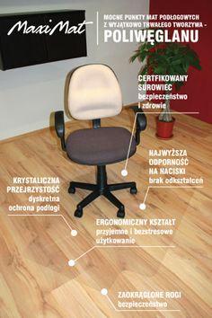 Mata ochronna pod fotel biurowy- 100x125cm - ergonomiczny kształt, krystaliczna - MaxiMat.pl