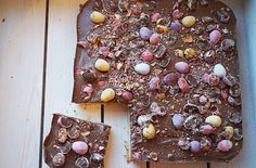 Salted caramel millionaires shortbread with mini eggs