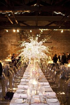 Clear chairs and big center piece