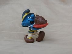 "Vintage PVC Smurf with Thanksgiving Turkey in Pilgrim Hat, Peyo 1982 Made in Portugal   Save 20% during my Christmas in July sale with coupon code ""ETSYCIJ""   Be sure to check out other Etsy Christmas in July sales."