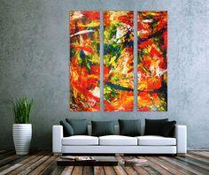 Abstraktes Tryptichon XXL moderne Kunst 200x180cm von xxl-art.de
