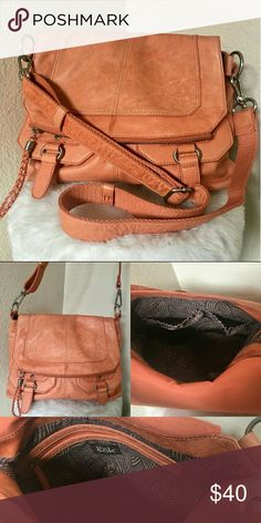 The SAK Large Leather Crossbody The SAK Large Leather Crossbody Purse with removable strap! In excellent condition Kind of a orange cognac coloring  Hobo style 10'H 15'L 3'D The Sak Bags Crossbody Bags