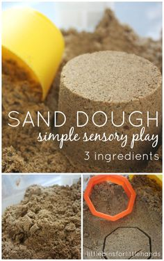 Make this simple and quick sand dough sensory play recipe. Sand dough is a unique sensory play material that molds and shapes and doesn't dry out!