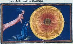 Il Primo Mobile: Paradiso XXVIII, 21 (come stella con stella si colloca). Illustrazione di Giovanni di Paolo nella Divina Commedia di Alfonso d'Aragona, British Library