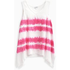 Girl Tie Dye Stripe Voile with Fray Tank ($36) ❤ liked on Polyvore featuring tops, pink striped top, tie dyed tops, tye dye tops, tie dye tops and striped long sleeve top