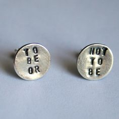 Hamlet - Sterling Silver Shakespeare Quote Earrings in Oxidized Finish