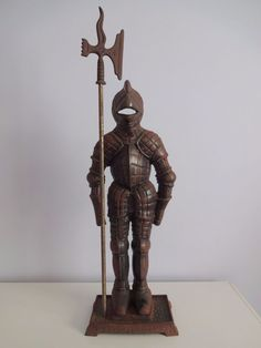 Vintage Cast Iron Medieval KNIGHT Suit of Armor FIREPLACE TOOL SET ...