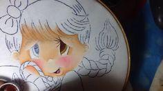 Pintura en tela niña limon # 1 con cony