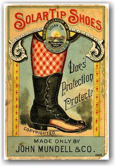 wonderful victorian trade card for solar tip shoes
