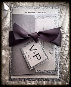Silver Glitter Wedding Invitation and RSVP Set by VPElegance