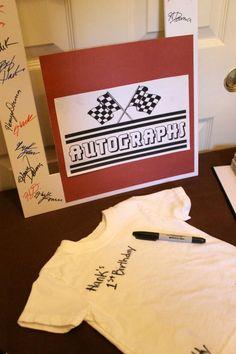 autograph t-shirt for birthday boy