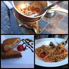 pasta / baked mozzarella wrapped in prosciutto