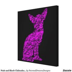 Pink and Black Chihuahua Silhouette Canvas Print
