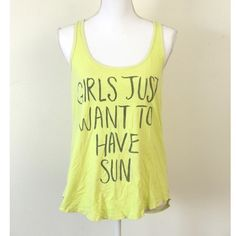 girls just want to have sun tank top size large // yellow tank top perfect for summer says girls just want to have fun, cute graphic word tee, racerback Billabong Tops Tank Tops