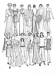Galerie de coloriages gratuits coloriage-adulte-mode-differents-styles-20e-siecle. Coloriage inspiré d'une page du livre « La mode du XXe siècle » de John Peacock