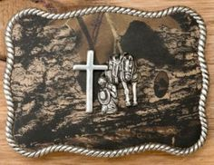 M&F Western Products® Camouflage Cowboy Prayer Rectangle Buckle | Cavender's- love this belt buckle
