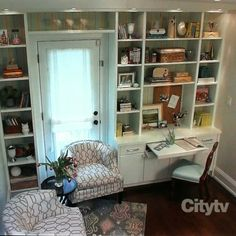 Image result for built in book case with secretary