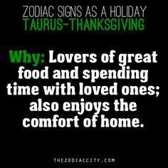 Zodiac Signs As A Holiday, Taurus - Thanksgiving.