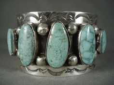These five graduated oval Kingman turquoise stones are a gorgeous pale aqua shade, as they're placed in vertical order, separated with large dual silver rounds, with a single silver round finishing the ends. | eBay!