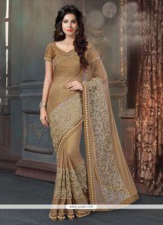 Entrancing Fancy Fabric Brown Patch Border Work Designer Traditional Sarees Model: YOSAR8816