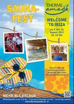 """THERME AMADÉ - Saunafest """"Welcome to Ibiza"""" Ibiza-Feeling mit exklusivem Aufgussprogramm und vielen keinen Überraschungen! (von 18.00 bis 24.00 Uhr)"""